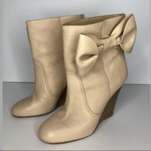 Red Valentino Nude Leather Wedge Ankle Boots Bow
